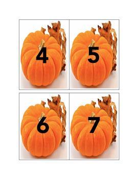 Montessori Math Fall Pumpkin Counting Cards