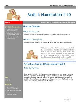 Red Blue Rods Lesson 2 of 2 Montessori Math Lesson Plan Numeration BC Curriculum