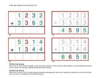 Montessori Math Static Addition Command Cards with Control of Error