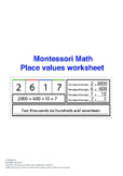 Montessori Math - place value worksheet
