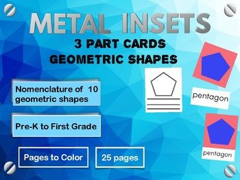 Montessori Metal Insets : 3 Part Cards of Geometric Shapes