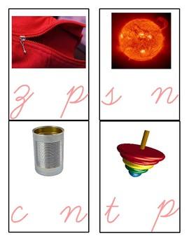 Montessori - Middle Vowel Sound Cards - Cursive