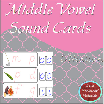 Montessori - Middle Vowel Sound Cards - D'Nealian