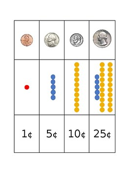 Montessori Mixed Coins and Colored Bead Matching