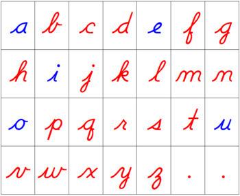Montessori Moveable Alphabet Cursive (with instructions)