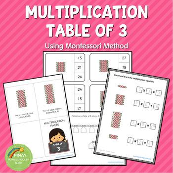 Montessori Multiplication Table of 3