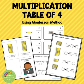 Montessori Multiplication Table of 4