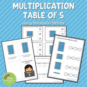 Montessori Multiplication Table of 5