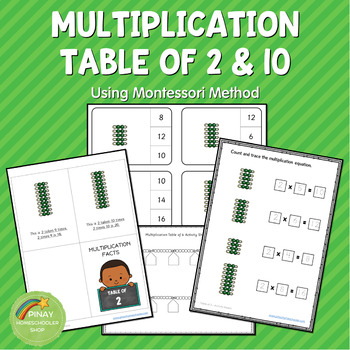 Montessori Multiplication Table of of 2 and 10