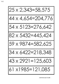 Montessori Multiplication equations for flat bead frame