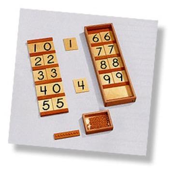 Montessori Neinhuis Ten Boards, wooden box and box of beads