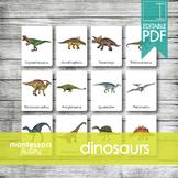 DINOSAURS • Montessori Cards • Flash Cards • Three Part Cards