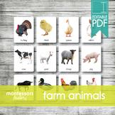 FARM ANIMALS • Montessori Cards • Flash Cards • Three Part Cards