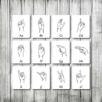 SIGN LANGUAGE | Montessori Nomenclature Cards | Flash Cards | 3 Part Cards