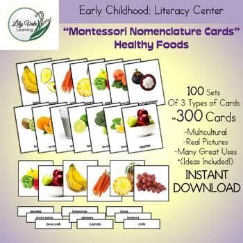 Montessori Nomenclature Cards-HEALTHY FOODS-Set of 300!