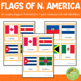 North American Flags Montessori  3 Part Cards