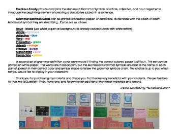 Montessori Noun Family & Grammar Definition Cards