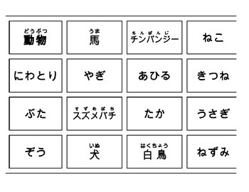 Montessori Noun animal gender, group, home and sound cards in Japanese