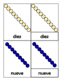 Montessori Number Bead Bars 1 to 10 in Spanish 3 Part Cards