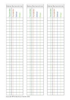 Montessori: Papier für den kleinen Rechenrahmen