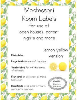 Montessori Parent Night Room Labels - Lemon Yellow