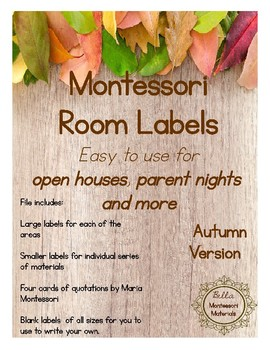 Montessori Parent Night Room Labels - Autumn Version