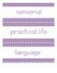 Montessori Parent Night Room Labels - Lavender
