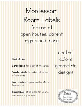 Montessori Parent Night Room Labels - Neutral, Geometric