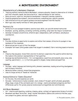 Montessori Parent Orientation: Presentation Guides and Handout