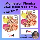 Montessori Phonics Vowel Digraphs oo ou ow 3 Part Cards