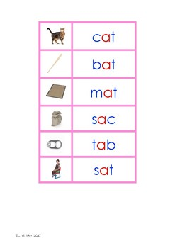Montessori Picture to Word Matching (Print & Cursive) PINK