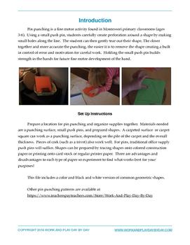 Montessori Pin Punching:  Geometric Shapes