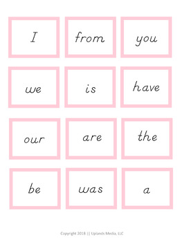 FREE Montessori Pink Level Sight Words