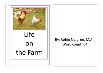 Montessori Pink Reader Life on the Farm Real Picture Pre-K through 2nd grade