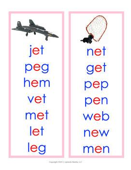 Montessori Pink Series Short Vowel Word Lists in D'Nealian Font