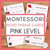 Montessori Language Pink Series Short Vowel Word Phrase Cards