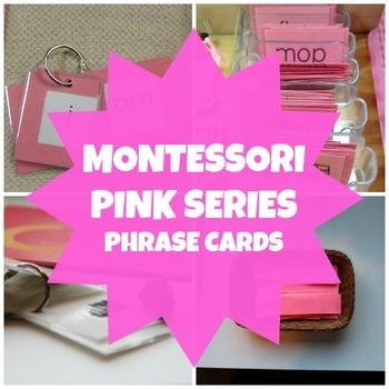 Montessori Pink Series Short Vowel Word Phrase Cards