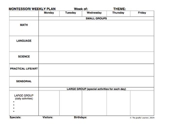 Montessori 3-6 yr Classroom Forms (includes Word & PDF files for most forms)