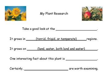 Montessori Plant Research Template