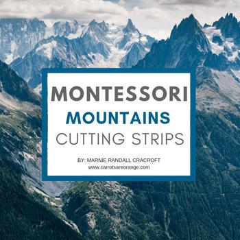 FREE Montessori Practical Life Cutting Strips - Mountain Theme