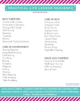 Montessori Practical Life Lessons
