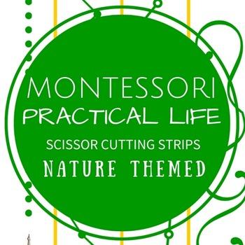 Montessori Practical Life Scissor Cutting Strips - Nature Theme