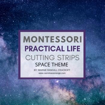 Montessori Practical Life Scissor Cutting Strips - SPACE Theme