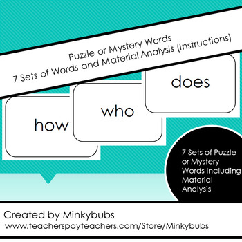 Montessori Puzzle or Mystery Word Sight Words Reading Cards & Material Analysis