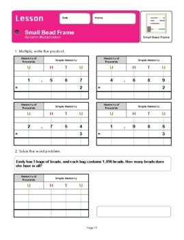 Montessori Small Bead Frame Dynamic Multiplication Workbook