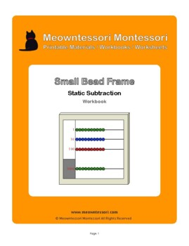 Montessori Small Bead Frame Static Subtraction Workbook