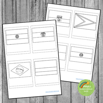 South Americab Flags Montessori 3 Part Cards