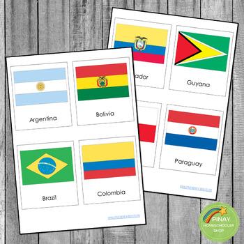 South Americab Flags Montessori 3 Part Cardsn