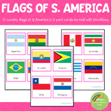 South American Flags Montessori 3 Part Cards