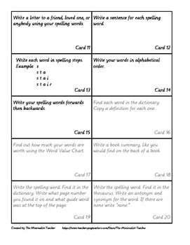 Montessori Spelling Word Activity Cards